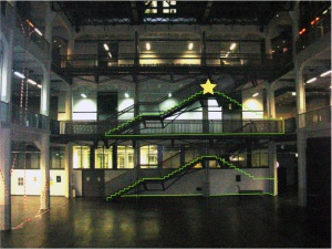 decoracao de natal na escada